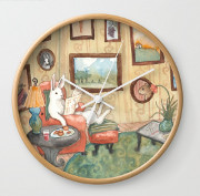Clock with Bunny Painting